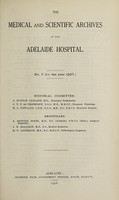 view The Medical and scientific archives of the Adelaide Hospital. no. 7 (for the year 1927.)